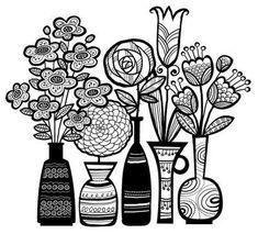 années 70 Pots de Galia Bernstein de fleurs 115