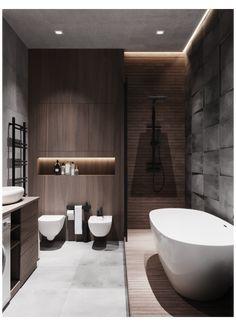 Wc Design, Bathroom Design Layout, Bathroom Design Luxury, Modern Bathroom Design, Design Ideas, White Bathroom Interior, Modern Bathrooms Interior, Dark Bathrooms, Small Dark Bathroom