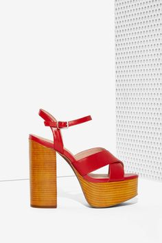 Jeffrey Campbell Geri Red Leather Platforms with Wood Bottoms