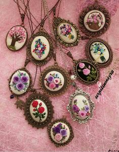 Embroidery Jewelry Set Bridesmaid Gift Bridal Wedding Gift for Mother Graduation Teacher Delicate Ne - Salvabrani Embroidery Sampler, Rose Embroidery, Embroidery Jewelry, Silk Ribbon Embroidery, Hand Embroidery Patterns, Brazilian Embroidery, Butterfly Crafts, Fabric Jewelry, Craft Patterns