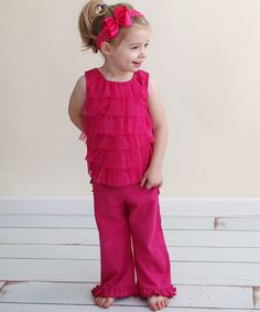 Take a look at this Fuchsia Mesh Ruffle Tank - Infant by RuffleButts on #zulily today!