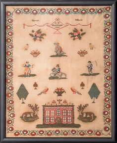 311: English wool on linen needlework dated 1840, wr : Lot 311
