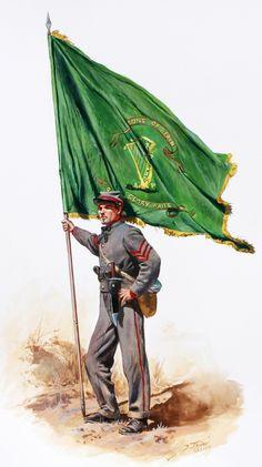 """Abanderado del 10º regimiento de infantería voluntaria de Tennessee """"Los Hijos de Irlanda"""". Artista Don Troiani."""