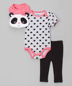 Look at this #zulilyfind! Black & Pink Heart & Panda Bodysuit Set - Infant #zulilyfinds