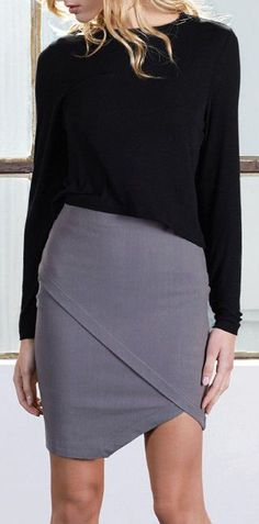 Soft, angled pencil skirt made from sustainable stretch fabric