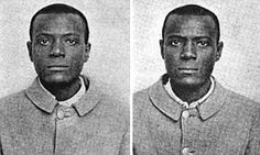 These are the mugshots of William West and William West, and they are not related. They were both sent to Leavenworth Prison at the same time, in 1903, and after some confusion, the staff understood they had two different prisoners with the exact same name, who looked exactly alike. They are part of the reason fingerprints are now used as identification.