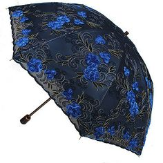 Women Embroidery lace Parasol Anti-UV/Sun Rain protection Lady Folding Umbrella