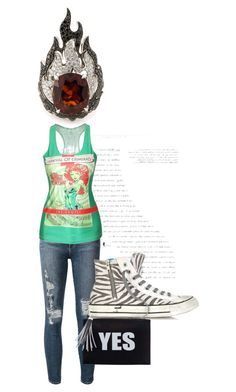 """""""220. Street style outfit. Destroyed Skinny Jeans, Green Graphic Tank, Zebra Print Converse, Yes Clutch, Flame Ring"""" by kohlanndesigns ❤ liked on Polyvore"""
