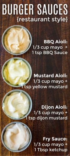 Top Secret Restaurant quality burger sauces and each of them is just 2 ingredien. Top Secret Restaurant quality burger sauces and each of them is just 2 ingredients! The best burger sauce combinations to go with the best burgers! Burger Recipes, Sauce Recipes, Grilling Recipes, Cooking Recipes, Pizza Recipes, Burger Sauces Recipe, Aioli Recipe For Burgers, Sauces For Burgers, Sauces For Sandwiches
