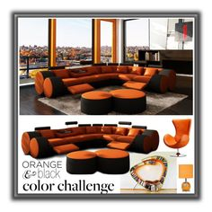"""""""Color Challenge: Orange and Black"""" by shadow-dancer-artist ❤ liked on Polyvore featuring interior, interiors, interior design, home, home decor, interior decorating, orangeandblack and colorchallenge"""