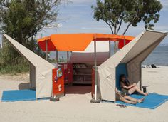 """chicagopubliclibrary: """" 'Beach Library' Pops Up In Southern France Via Architizer: """" Architect Matali Crasset's latest design is the """"Bibliothèque de Plage,"""" or """"Beach Library,"""" which crawls Istres,. Mini Library, Little Library, Library Books, Library Ideas, Free Library, Design Thinking, French Beach, Dubai Beach, Mobile Library"""