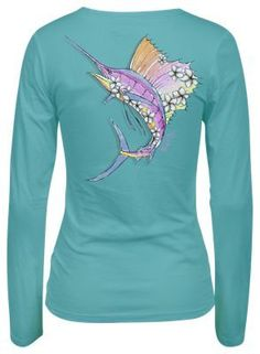 Salt Life Sunset Sail Scoop Neck T-Shirt for Ladies - Aqua - XL