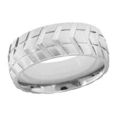 Men's 8.0mm Tread Patterned Wedding Band in Stainless Steel