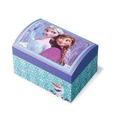 """Keep your sparkle tucked away in this cool W x H x D jewelry box featuring Disney's Frozen sisters, Elsa and Anna. Plays the tune to """"Let It Go"""" as Elsa and Anna cameos rotate. Ages 8 and up. Man-made materials. Let It Go, Frozen Disney, Frozen Jewelry Box, Minnesota, Cuddle Pillow, Frozen Dolls, Frozen Sisters, Shops, Kids Boxing"""
