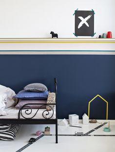 Teippejä voi käyttää lastenhuoneen koristeluun tai leikkimaailmoiden luomiseen, vaihda teipit uusiin leikkien vaihtuessa.