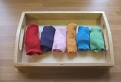 Folding and Rolling Ideas (Note: include embroidered folding cloths) Montessori Trays, Montessori Preschool, Montessori Education, Montessori Materials, Preschool Ideas, Home Learning, Early Learning, Daycare Themes, Life Skills Activities