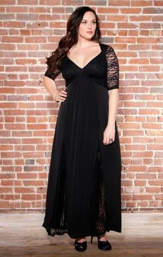 Want a stunning black lace maxi dress? if you're Plus Size 1X here is the black gown for you!