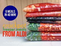 Six Crockpot Freezer Meals from Aldi in 40 Minutes - I love to spend the time making yummy meals but these could definitely come in handy this coming winter!