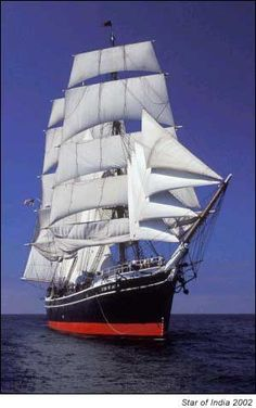 Star of India - oldest still-sailing ship. I& been on her (in harbor) and friend of mine used to be part of her pirate crew - no, really! As reinactment. San Diego, Old Sailing Ships, Full Sail, Wooden Ship, Maritime Museum, Set Sail, Tall Ships, Water Crafts, Cruise