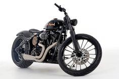 'Get Rhythm,' a Johnny Cash tribute motorcycle based on a lowered 2004 Harley-Davidson FXSTB Night Train.