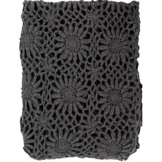Vintage inspired throw blanket with a crochet floral cutwork pattern in deep gray. Wrap yourself in its comfort or wonderfully chic tossed effortlessly on your favorite chair or sofa. Shop our selecti