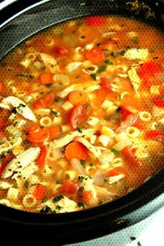 Slow Cooker Sicilian Chicken SoupYou can find Italian chicken soup and more on our website. Italian Chicken Soup, Chicken Soup Recipes, Sausage Rigatoni, Pink Sauce, Homemade Chili, Sicilian, Chicken Cooker, Slow Cooker, Curry