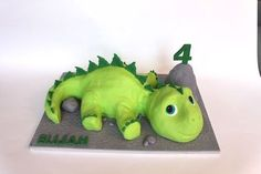 A baby Stegosaurus that fed a crowd at a birthday party. All details in modeling chocolate and fondant. The boulder is rice cereal treats. Dinasour Birthday Cake, Dinasour Cake, Dinosaur Birthday Party, 3rd Birthday, Birthday Cakes, Birthday Ideas, Cereal Treats, Rice Cereal, Dino Cake