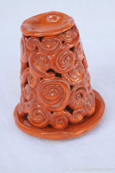 Brucia essenze spirali, smalto arancione | handmade ceramic | ceramic oil burner, spiral decoration, orange