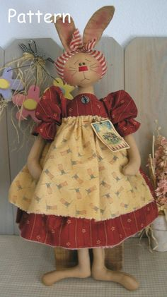 PDF E-Pattern #10 Primitive Raggedy Bunny Rabbit Country Folk Art Cloth Doll Sewing Craft
