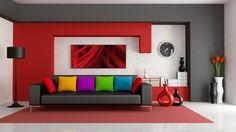 rot wandgestaltung stehlampe schwarz sofa bunt kissen