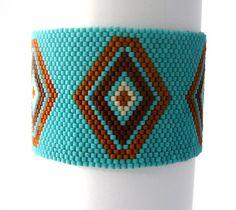 Turquoise Beaded Bracelet Native American Inspired Peyote Bead Weaving Cuff Southwestern Jewelry Gemstone Jasper Free Shipping