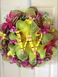 Tropical Spring Summer Initial Wreath by DazzlinDoorzbyKristi, $85.00