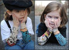 Tattoo sleeves kids white tshirt pirate theme by Onceuponastory, $17.00
