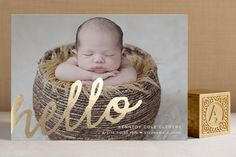 A Simple Hello Foil-Pressed Birth Announcement Cards by Jessica Booth at minted.com