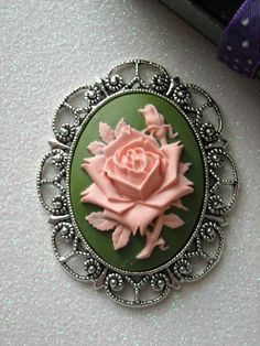 Pink Rose Antique Silver Brooch by OctoberPetals on Etsy