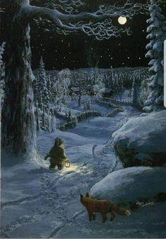 Hasse Bredenberg (Hans Erik), born December 13 1957 in Frykerud, Värmland , Sweden. Les Moomins, Memes Arte, Winter Solstice, Children's Book Illustration, Winter Scenes, Pixies, Christmas Art, Christmas Gnome, Faeries