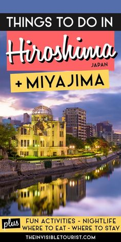 Want to experience the meaningful things to do in Hiroshima Japan? This Hiroshima travel guide explains the meanings behind main Hiroshima attractions created after the bombing, day trips from Hiroshima (including things to do in Miyajima), free and fun things to do in Hiroshima, what to eat, Hiroshima at night, even where to find nuclear shadows hiding in plain sight. Includes where to stay in Hiroshima, how to get around and much more! | The Invisible Tourist Japan Travel Guide, Tokyo Travel, Asia Travel, Travel Articles, Travel Advice, Travel Guides, Travel Plan, Travel Goals, Hiroshima Japan