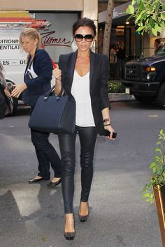 "Victoria Beckham, arriving at her hotel after appearing on ""The View"" seen wearing leather leggings and Louboutin studded heels, 2010"