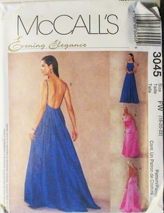 Misses Sewing Pattern McCalls 3045 Misses Lined Dresses Pattern Evening Gown Pattern Size 22 Uncut by SewYesterdayPatterns on Etsy Mccalls Sewing Patterns, Vintage Sewing Patterns, Clothing Patterns, Dress Patterns, Evening Gown Pattern, Evening Gowns, Dress Ideas, Dress Making, Sketching