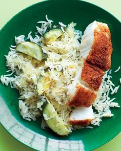 Spice-Rubbed Fish with Lemony Rice.  the fish steams right on top of the rice!  One pot meal!