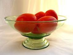 Vintage Green Glass Footed BowlServingDisplay from by tessiemay, $22.00