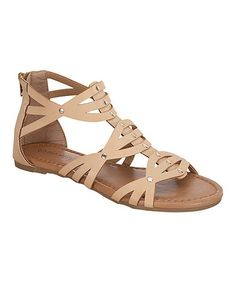 Top Moda $12.99  Another great find on #zulily! Beige Crisscross Gladiator Sandal #zulilyfinds