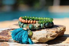 Yoga Tassel Bracelets Lotus Flower and por HappyGoLuckyJewels