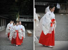 Miko at the  Yasukuni Shrine SpringFestival. They are dressed in heian robes.