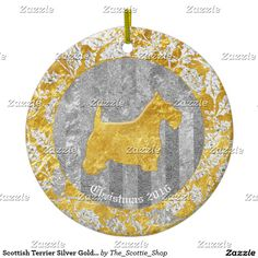 Scottish Terrier Silver Gold Glass Look Ceramic Ornament