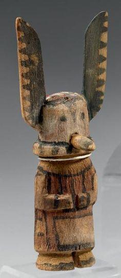 Superbe Kachina aux oreilles à la peinture dentelée Hopi, Arizona, U.S.A.