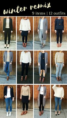 Winter Remix: 9 items to create 12 different outfits. Mini capsule wardrobe. www.stylethislife.com