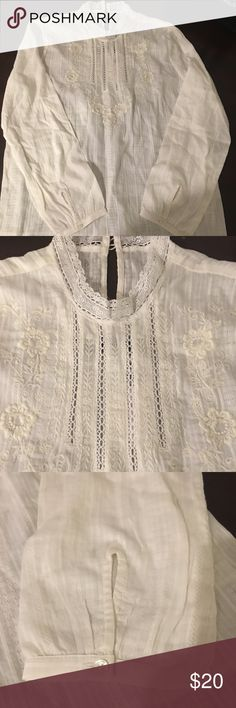 Abercrombie & Fitch Blouse Beautiful blouse with embroidered detailing and high neck. Perfect gift for yourself or a loved one! Reasonable offers welcomed!! Beige Abercrombie & Fitch Tops Blouses
