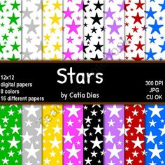Stars - 16 Digital Papers from Always a Teacher & Forever a Mom - Clipart on TeachersNotebook.com (16 pages)