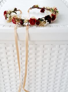 New flower crown color palette in wine, marsala, burgundy and champagne vineyard wedding hair wreath! Bridal party dried floral crown headpiece halo garland for everyday hair fashion, and bridal accessories. *Ready TO Ship! Attached champagne ribbon ties in the back making my halo fully